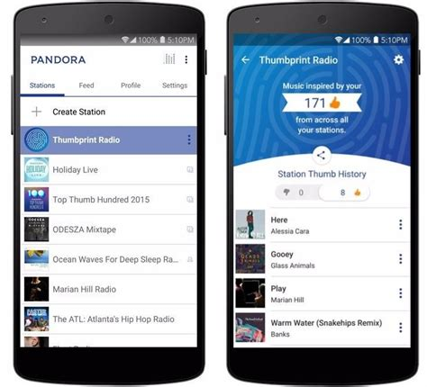 how to from pandora on android pandora s new thumbprint radio station is of songs that your thumbs up android central