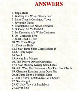 Answers to the christmas songs christmas game
