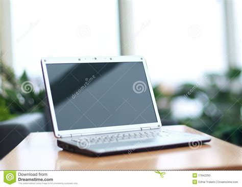 laptop on desk thin laptop on office desk stock photos image 17842293