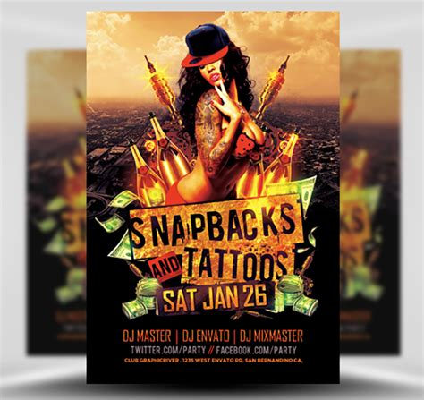 snapbacks and tattoos snapbacks and tattoos flyer template flyerheroes