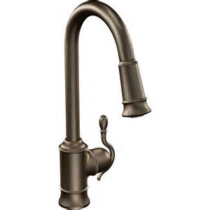 pictures of kitchen faucets moen s7208orb woodmere rubbed bronze pullout spray