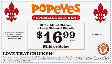 popeyes printable coupon special you can join on their krewe then receive updates and