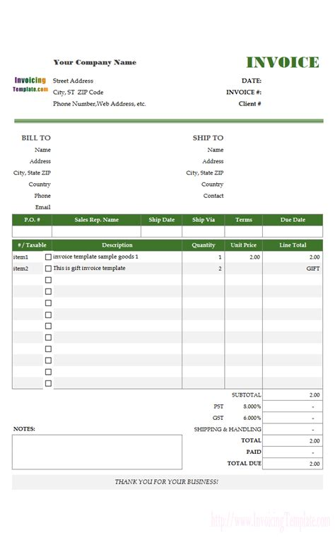 Free Invoice Templates For Excel Invoice Template