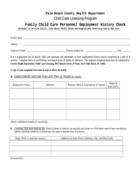 Mba Employment History Application Form by Sle Employment History Forms 9 Free Documents In