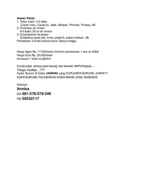 Pakan Anakan Branjangan wa 081 578 578 249 suplemen untuk burung ocehan harga