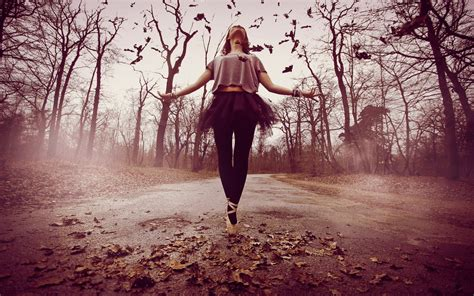 emotional girl wallpaper autumn dancing ballerina wallpapers and images