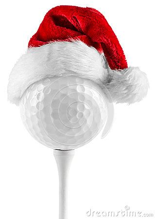 golf ball  tee santa hat stock  image