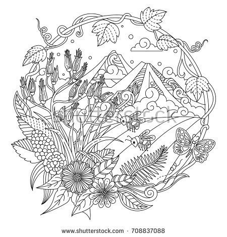 colouring book for adults nz color new zealand mountain stock vector 708837088