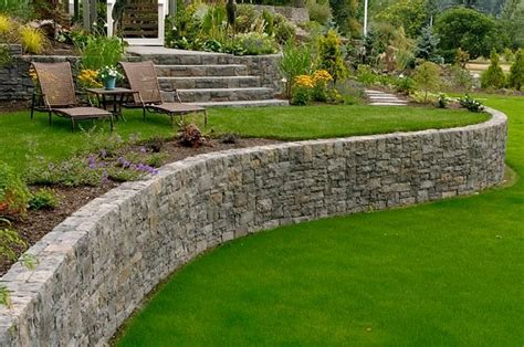 backyard rock wall retaining wall design landscaping network