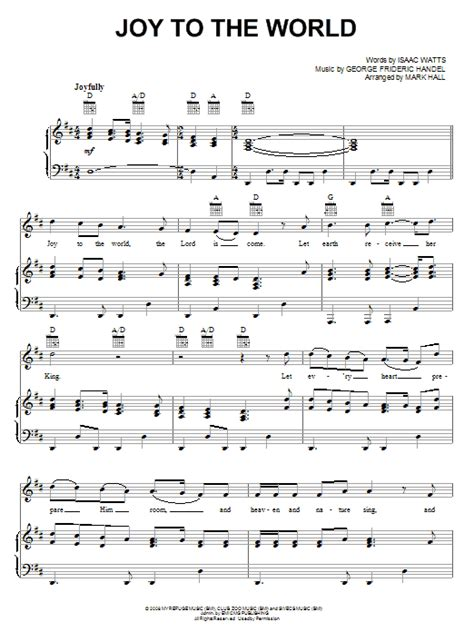 printable lyrics joy to the world joy to the world sheet music direct