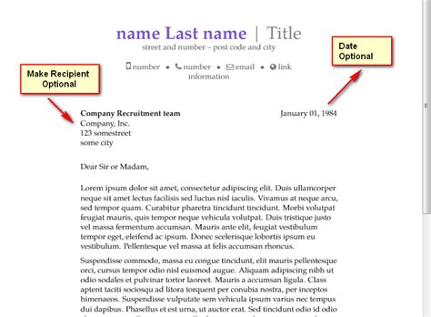 cover letter tlates templates make recipient date optional in moderncv