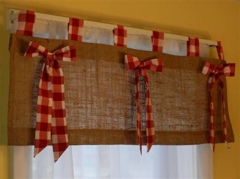 white curtains with red trim burlap tab valance with red and white check tabs by