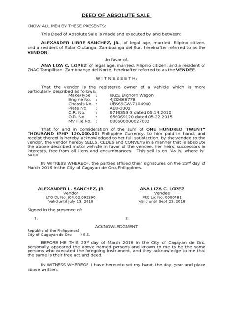 download deed of sale of motor vehicle template docshare