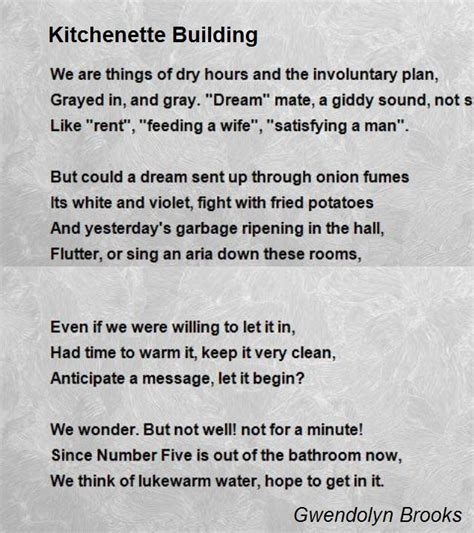 kitchenette building poem by gwendolyn brooks poem hunter