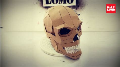 How To Make A Skull Mask Out Of Paper - diy human skull cardboard prop how to 108