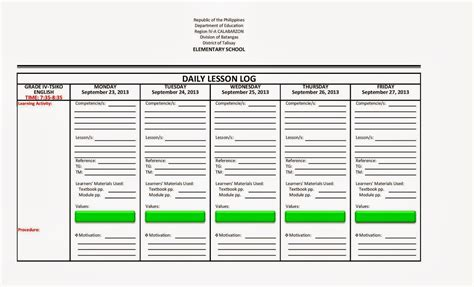 daily lesson log format english filipino language