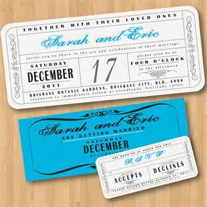 vintage wedding ticket style invitations diy set