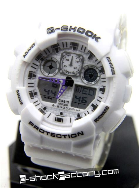 G Shock Ga 100 Black List White g shock ga 100 white wrist by www g shockfactory