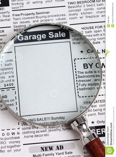 Garage Sale Classified Ad by Garage Sale Stock Image Image Of Magnifying Media Copy