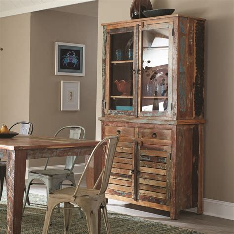 Keller Dining Room Hutch Coaster Keller Rustic China Cabinet With Louvered Doors