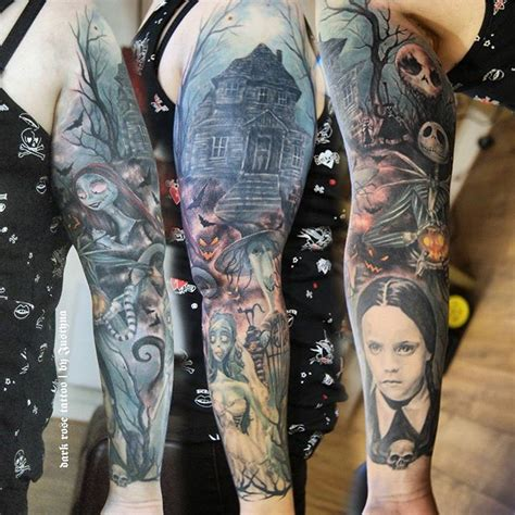 the rose tattoo characters tim burton characters sleeve by justyna