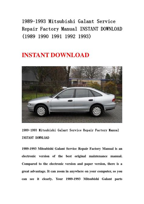 download car manuals 1989 mitsubishi chariot on board diagnostic system mitsubishi galant service repair workshop manual 1989 1993 autos post