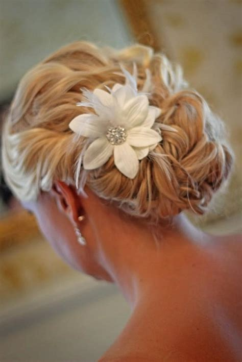 Handmade Hair - custom handmade hair clip pin white flower feather wedding
