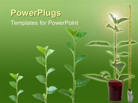 Powerpoint Template Four Growing Grren Plants On A Green Colored Backround 23620 Plant Powerpoint Templates Free