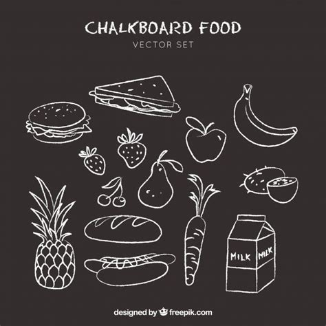doodle food icons vector food icons doodle on chalkboard background vector
