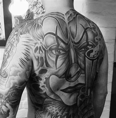 tattoo back chicano 75 clown tattoos for men comic performer design ideas