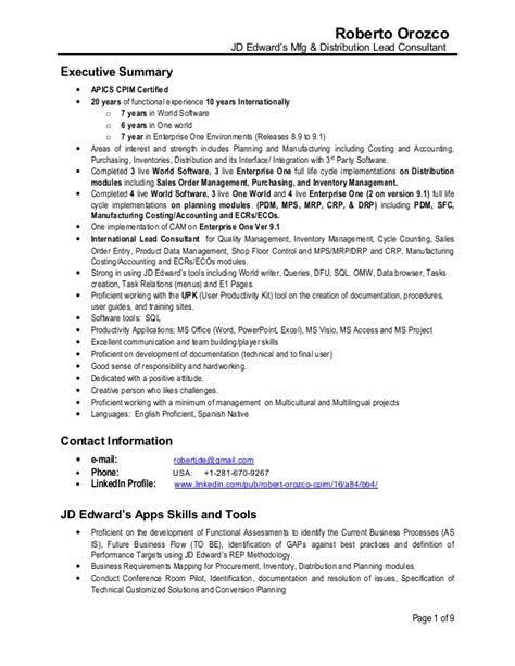 Sap End User Resume Sample by Resume Roberto Orozco Jd Edwards Mfg Amp Distribution Lead