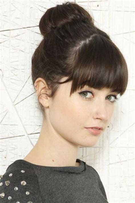 bang and bun hairstyles 20 bun hairstyles with bangs hairstyles haircuts 2016