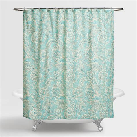 flowered shower curtains aqua floral adelaide shower curtain world market