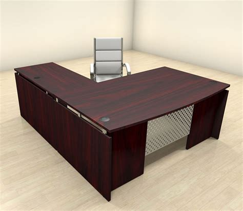 3pc modern l shaped contemporary executive office desk set