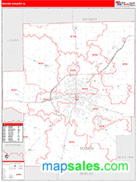 macon zip code map macon county il zip code wall map line style by