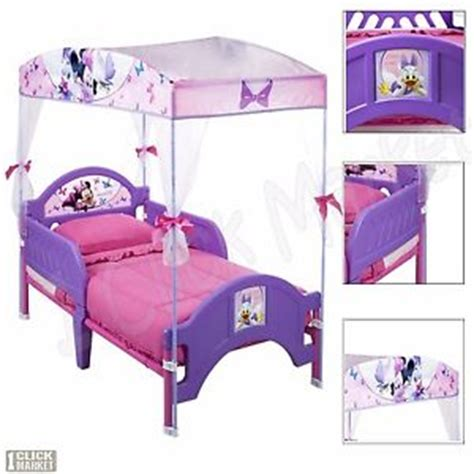 Minnie Mouse Toddler Bed With Canopy Minnie Mouse Canopy Toddler Bed Children Purple Bedroom Furniture Set Ebay