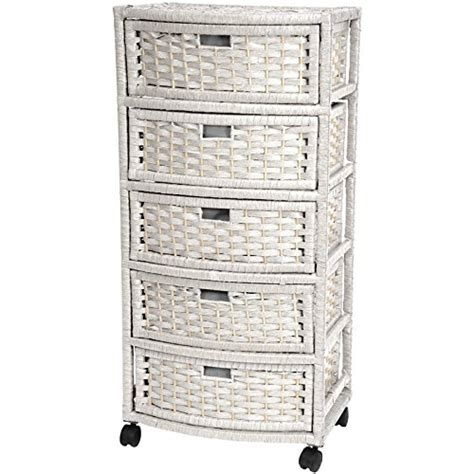 White Wicker Storage Rattan Linen Chest Cabinet Bathroom Rattan Bathroom Storage