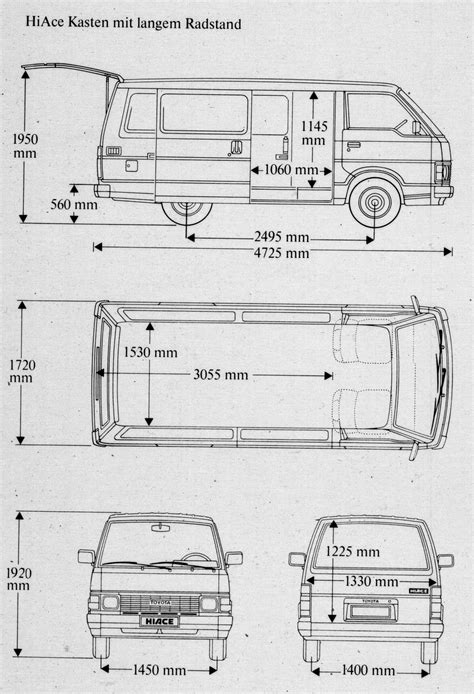 Toyota Hiace Measurements Toyota Hiace Dimensions Auto Cars