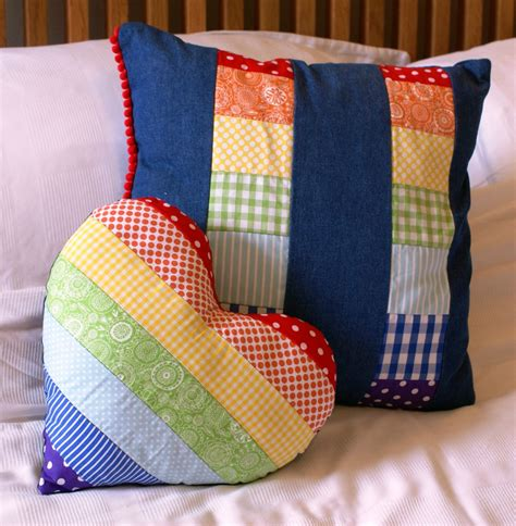 Felt Patchwork - rainbow and denim patchwork pillow felt