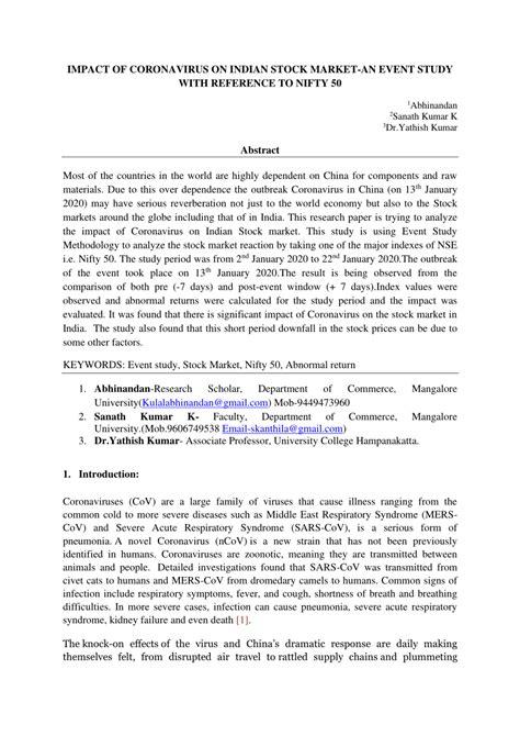 (PDF) IMPACT OF CORONAVIRUS ON INDIAN STOCK MARKET-AN