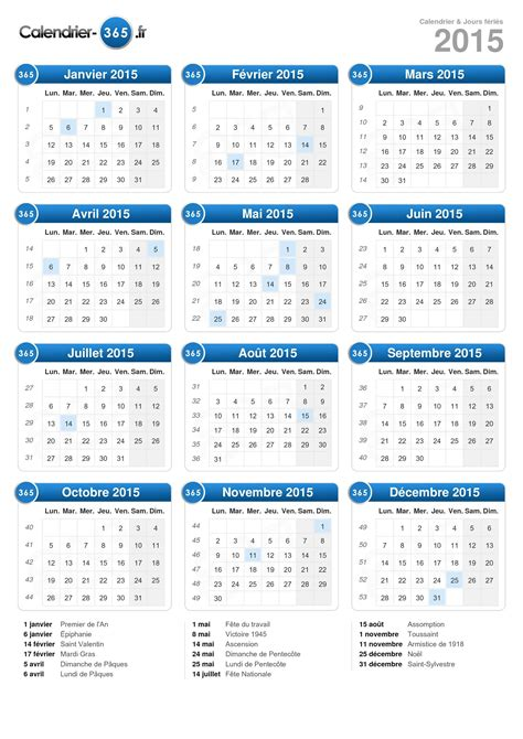 Jours Calendrier Calendrier 2015