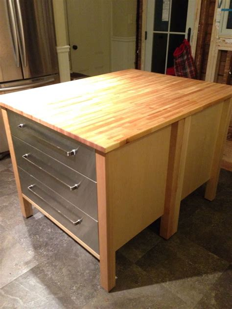 kitchen butcher block island ikea ikea kitchen island hack two varde 3 drawer cabinets back