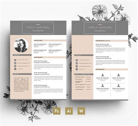 Professional Cv Template Business Card 2 Page Cover Letter Stylish Resumes Resume Cv 2 Page Cv Template