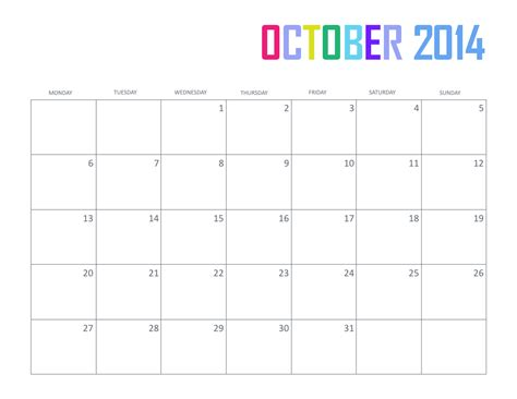 october 2014 calendar template free printable october 2014 calendar