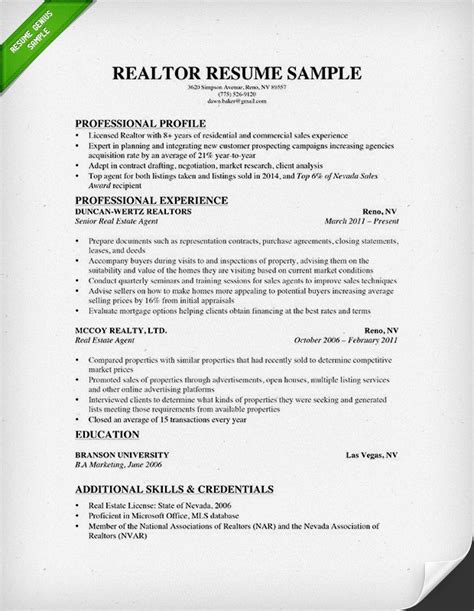 exles of really resumes real estate resume writing guide resume genius