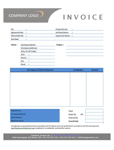 it contractor invoice template sle contractor invoice templates 14 free documents