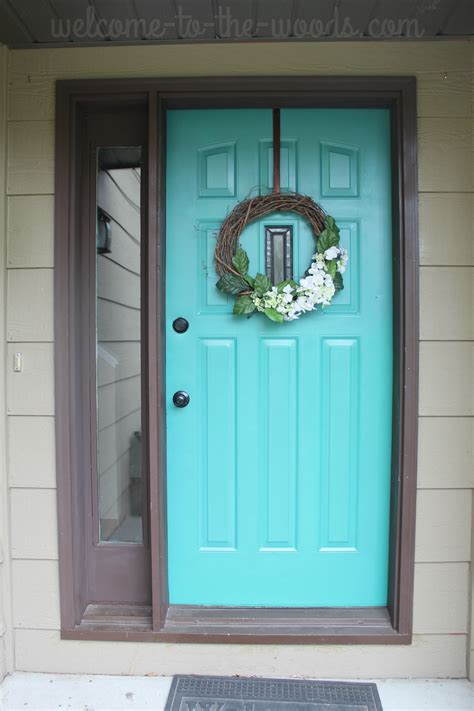 front door refresh paint  turquoise entryway makeover