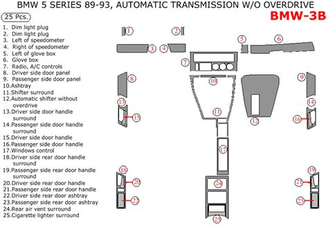 bmw 5 series 1989 1993 interior kit automatic transmission without overdrive 25 pcs