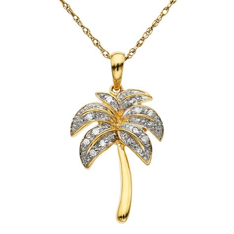 accent palm tree pendant 10k yellow gold