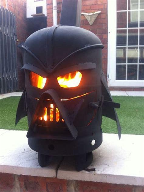 diy darth vader pit futurama s bender made into woodburning stove geekologie